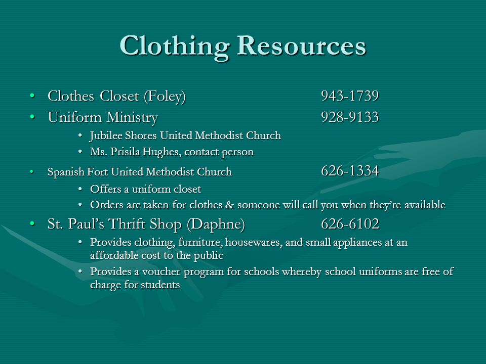 Clothing Resources Clothes Closet (Foley) 943-1739