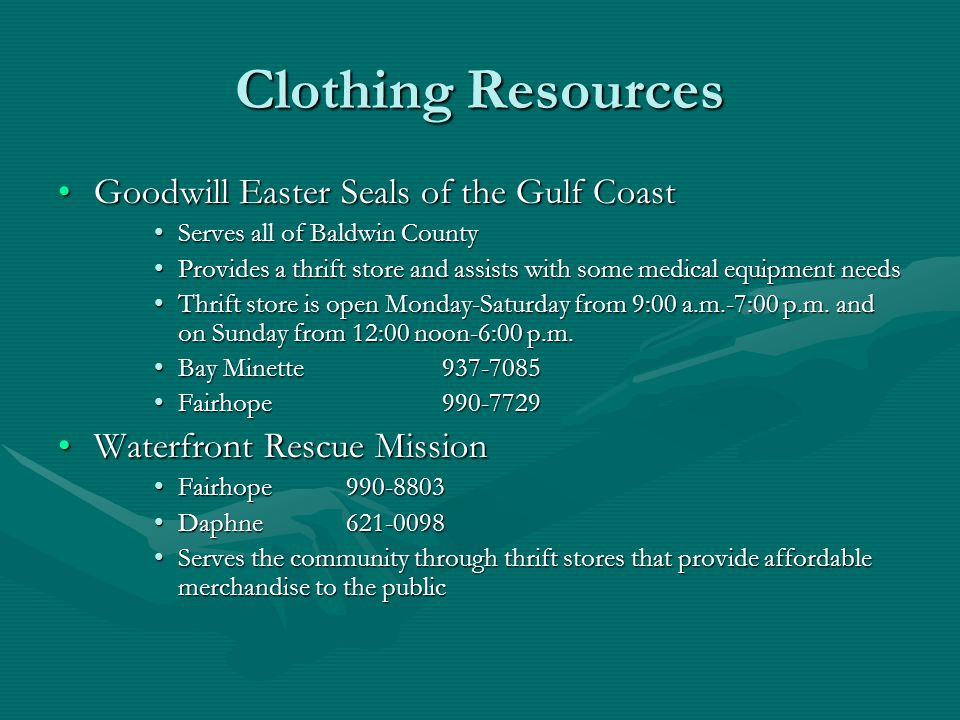 Clothing Resources Goodwill Easter Seals of the Gulf Coast
