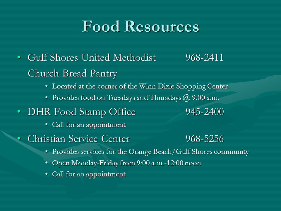 Food Resources Gulf Shores United Methodist 968-2411