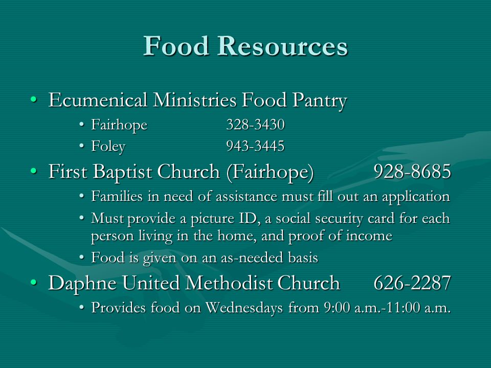 Food Resources Ecumenical Ministries Food Pantry