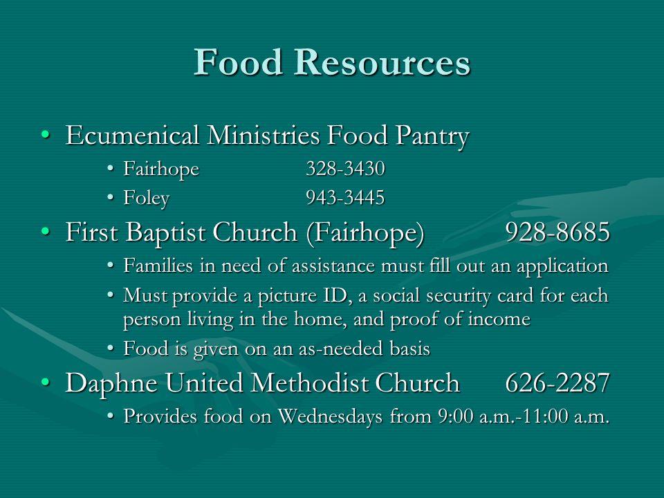 Food Resources Ecumenical Ministries Food Pantry