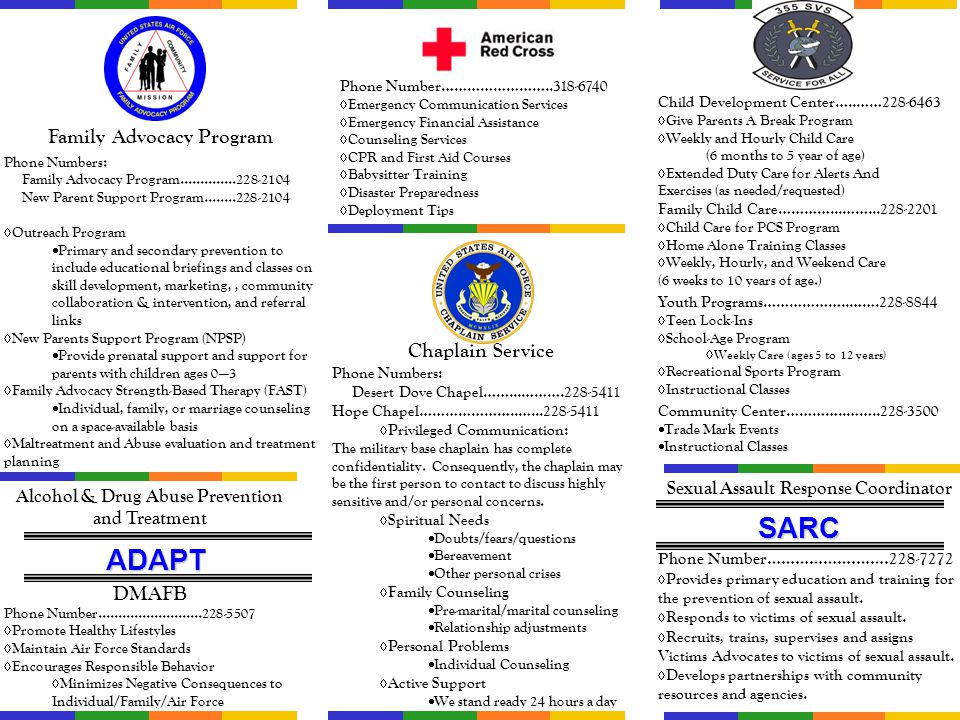 SARC ADAPT Family Advocacy Program Chaplain Service DMAFB