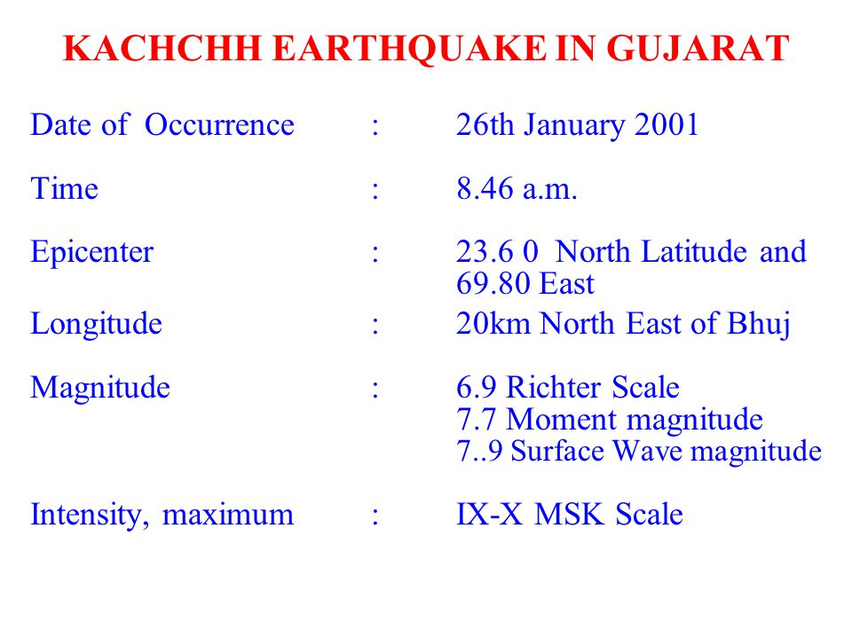 KACHCHH EARTHQUAKE IN GUJARAT