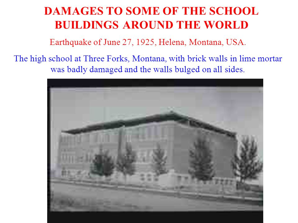 DAMAGES TO SOME OF THE SCHOOL BUILDINGS AROUND THE WORLD