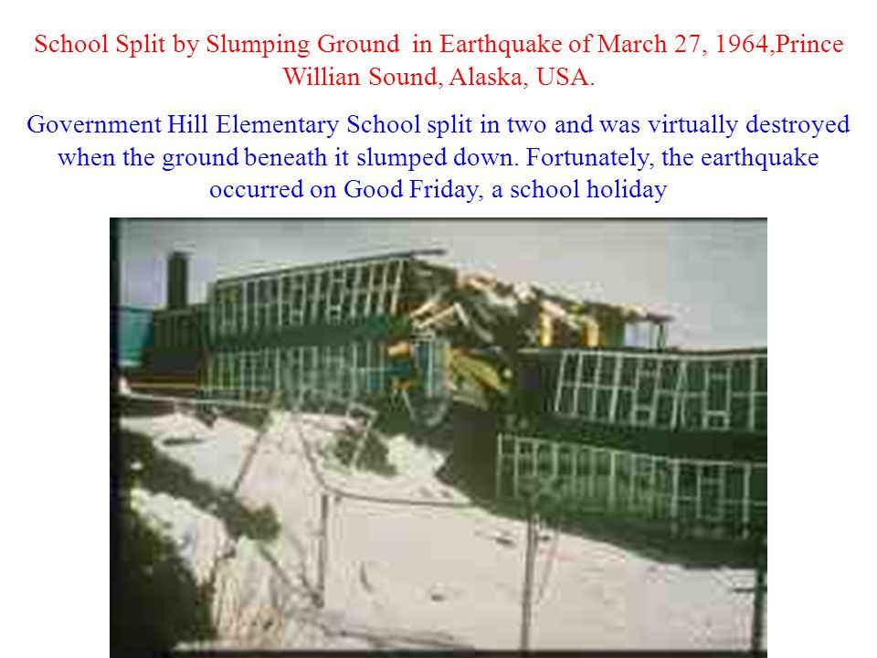 School Split by Slumping Ground in Earthquake of March 27, 1964,Prince Willian Sound, Alaska, USA.
