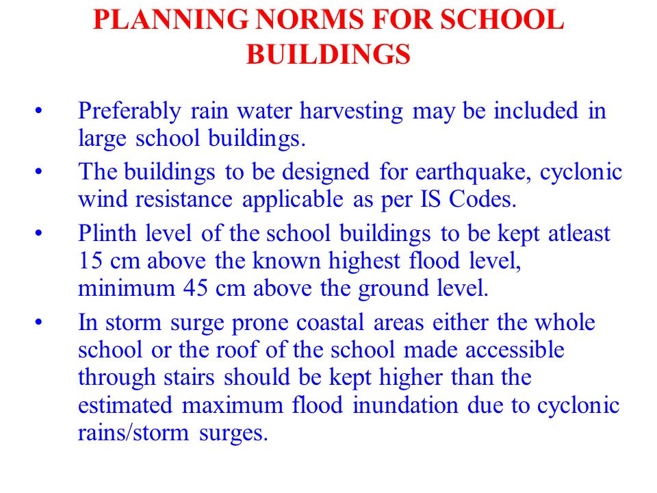 PLANNING NORMS FOR SCHOOL BUILDINGS