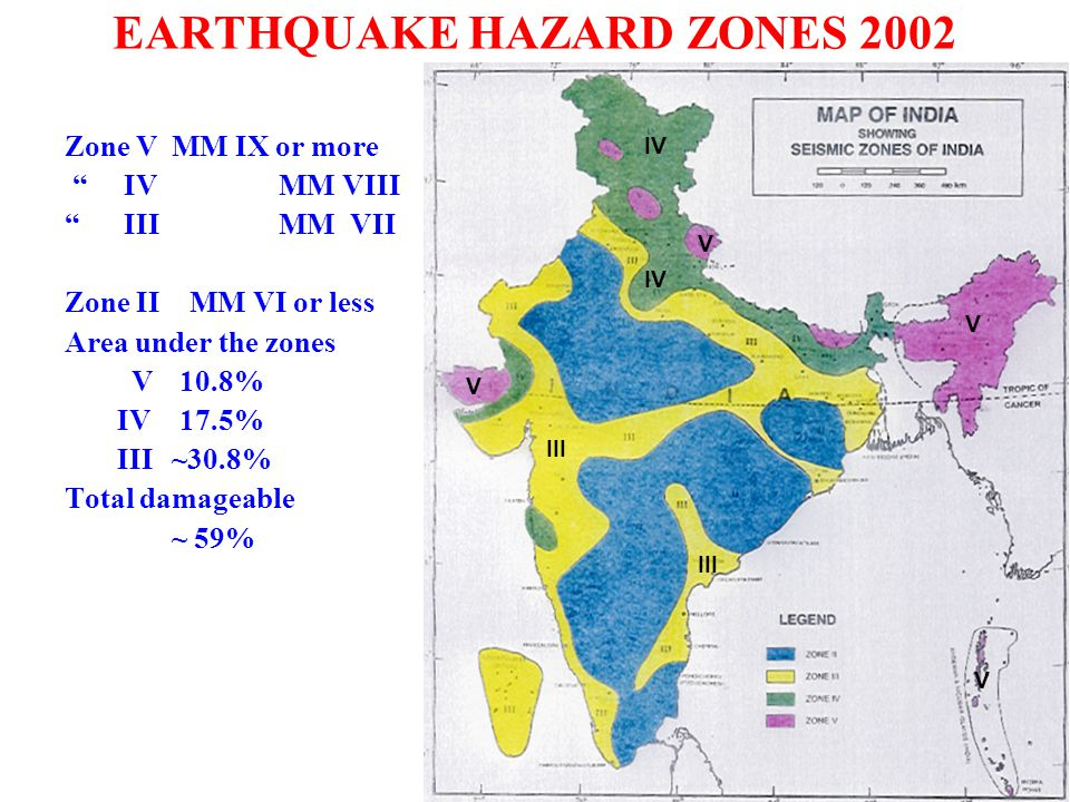 EARTHQUAKE HAZARD ZONES 2002