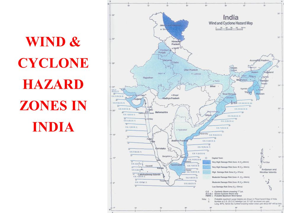 WIND & CYCLONE HAZARD ZONES IN INDIA