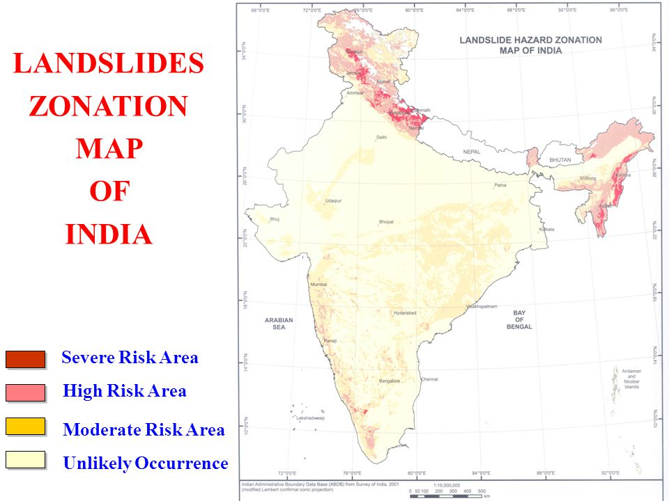 LANDSLIDES ZONATION MAP OF INDIA