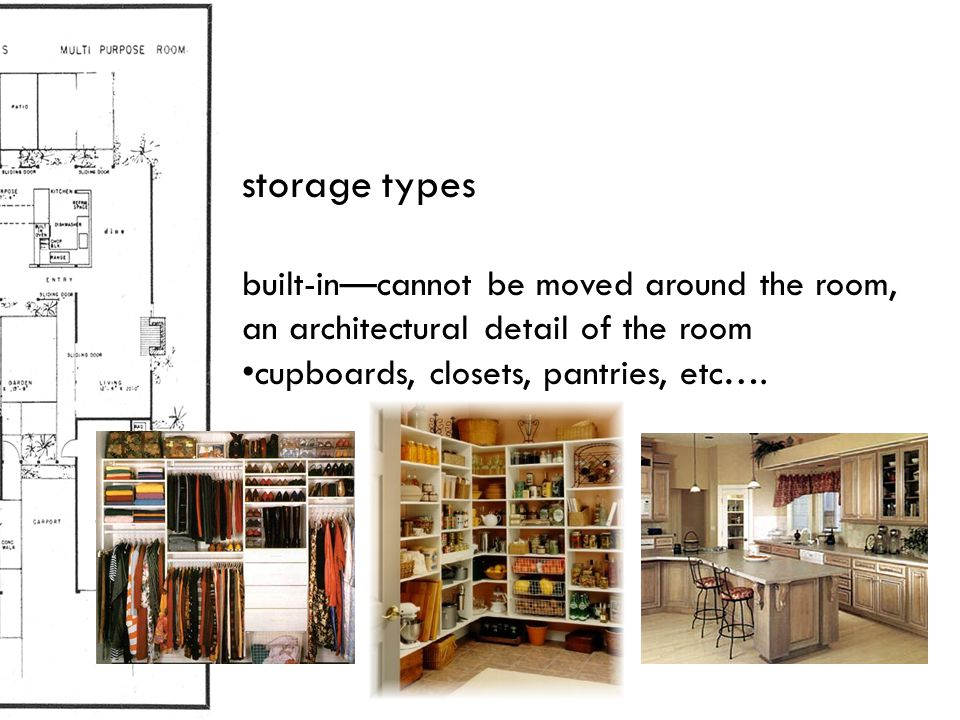 storage types built-in—cannot be moved around the room, an architectural detail of the room.