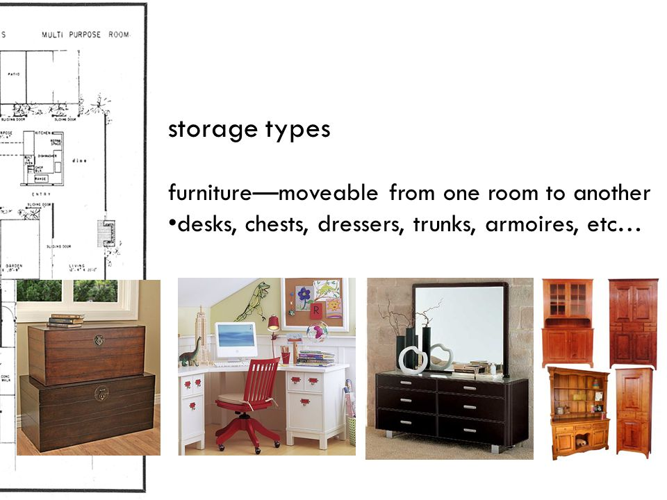 storage types furniture—moveable from one room to another