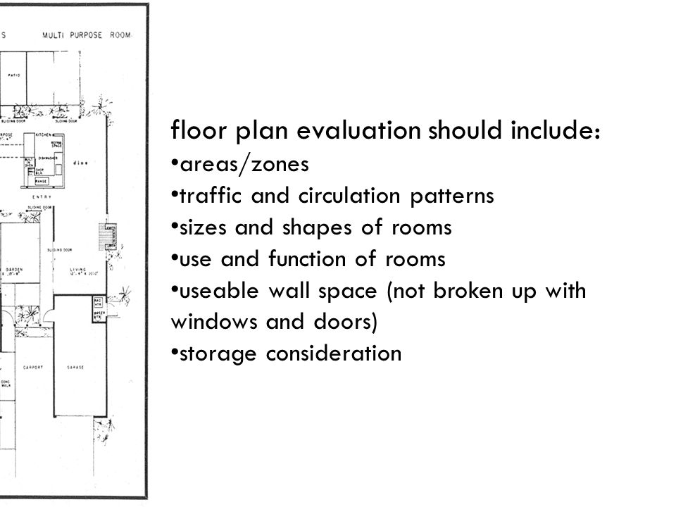 floor plan evaluation should include: