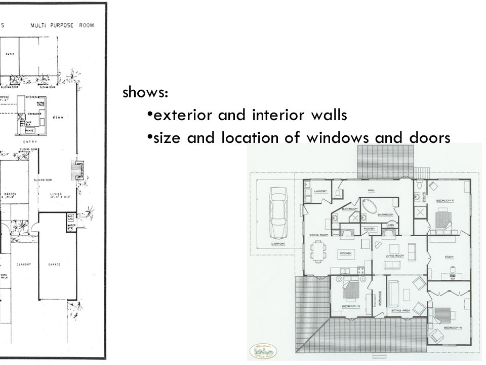 shows: exterior and interior walls size and location of windows and doors