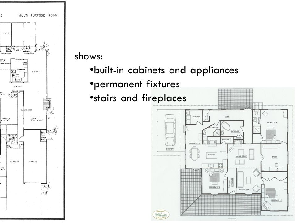 shows: built-in cabinets and appliances permanent fixtures stairs and fireplaces