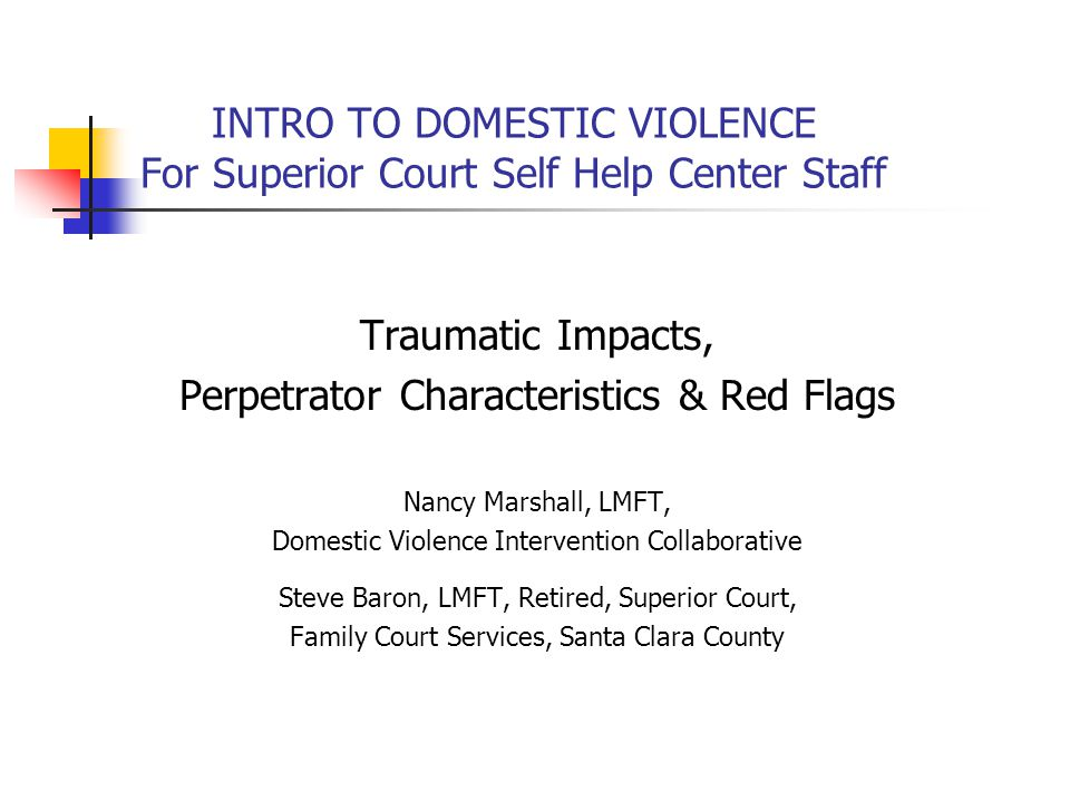 INTRO TO DOMESTIC VIOLENCE For Superior Court Self Help Center Staff