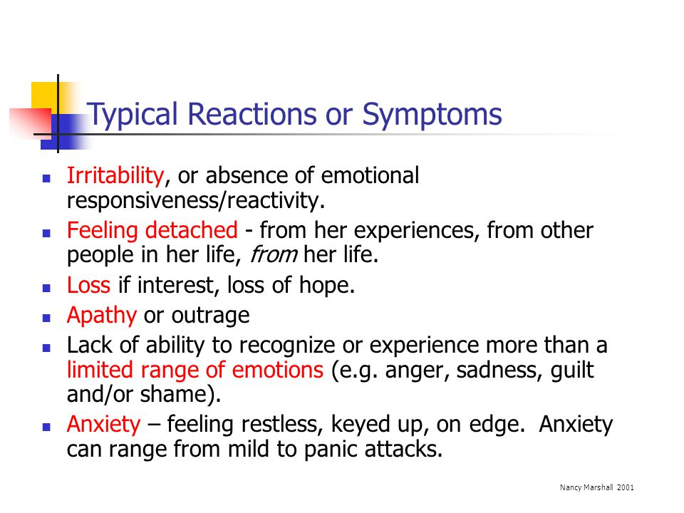 Typical Reactions or Symptoms