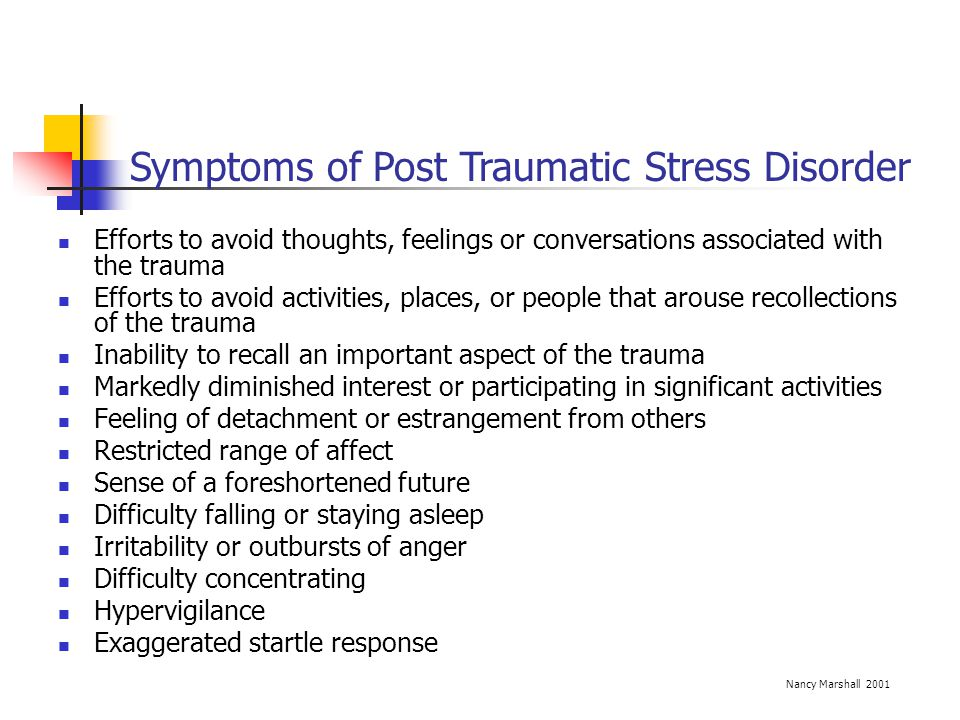 Symptoms of Post Traumatic Stress Disorder