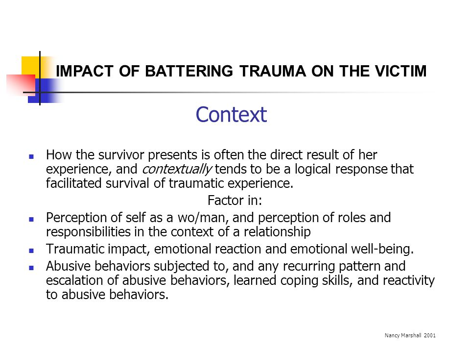 Context IMPACT OF BATTERING TRAUMA ON THE VICTIM