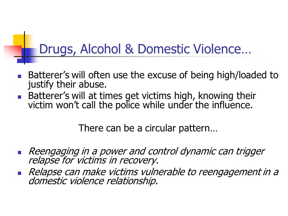 Drugs, Alcohol & Domestic Violence…