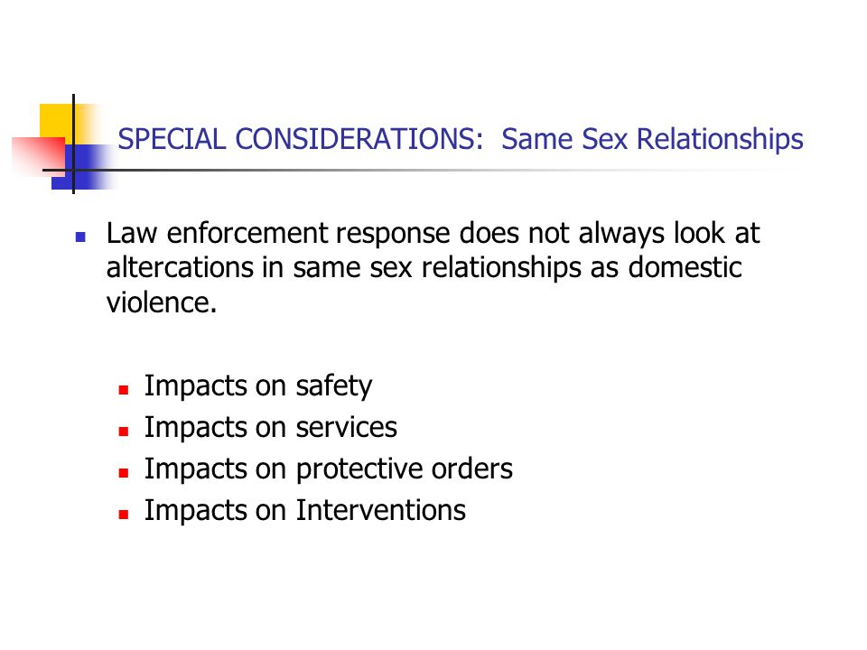 SPECIAL CONSIDERATIONS: Same Sex Relationships