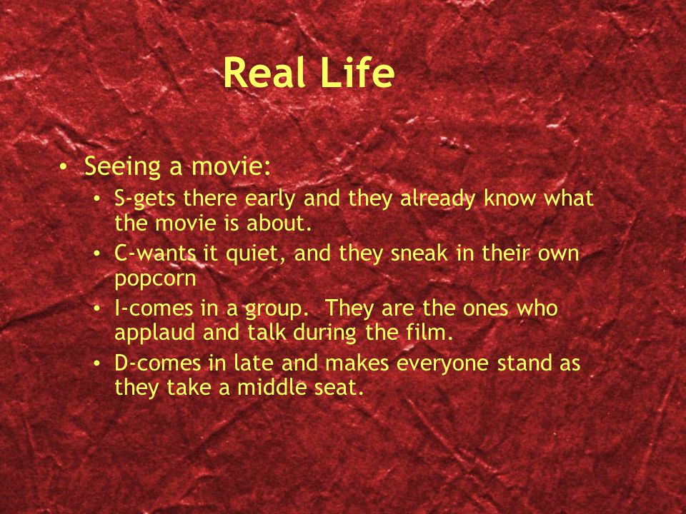 Real Life Seeing a movie: