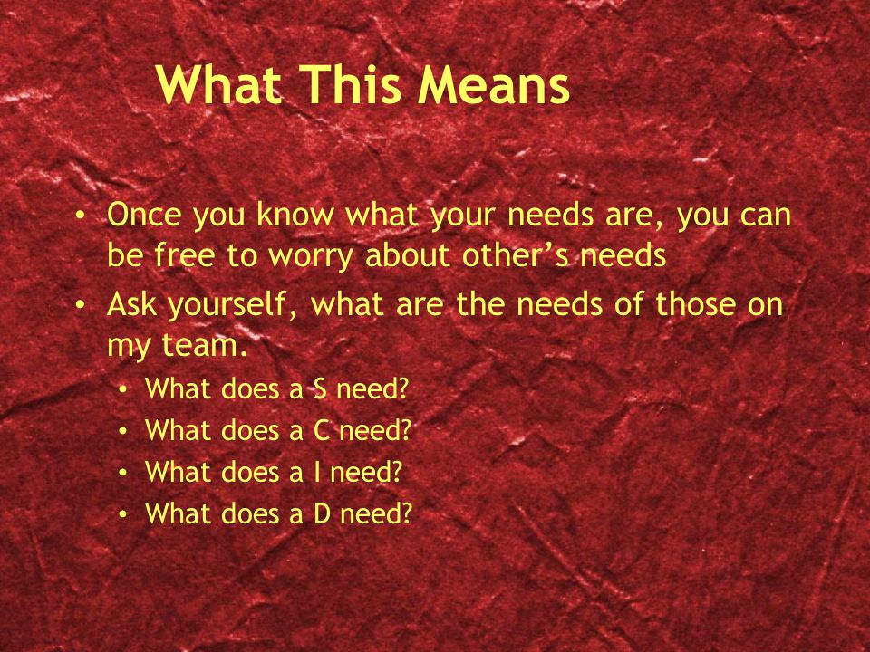 What This Means Once you know what your needs are, you can be free to worry about other's needs.