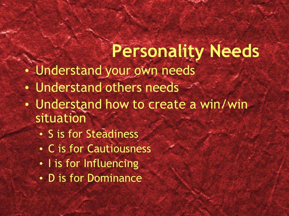 Personality Needs Understand your own needs Understand others needs