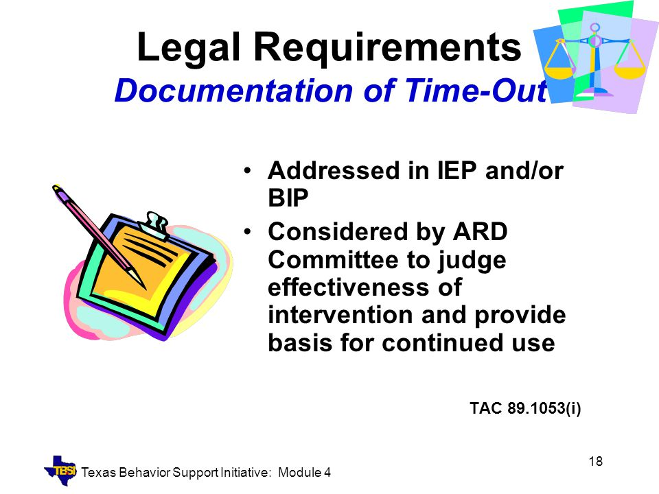 Legal Requirements Documentation of Time-Out