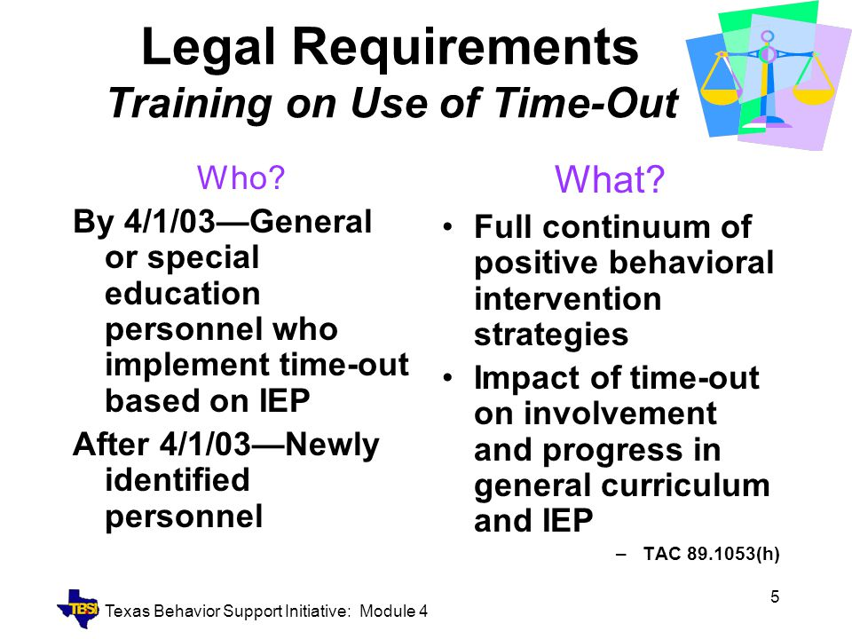 Legal Requirements Training on Use of Time-Out