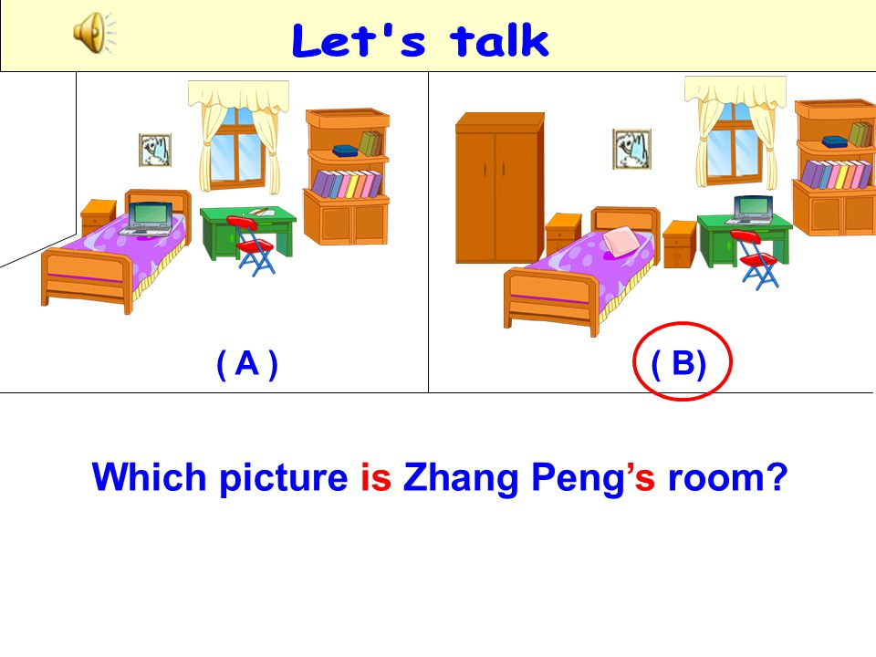 Let s talk ( A ) ( B) Which picture is Zhang Peng's room
