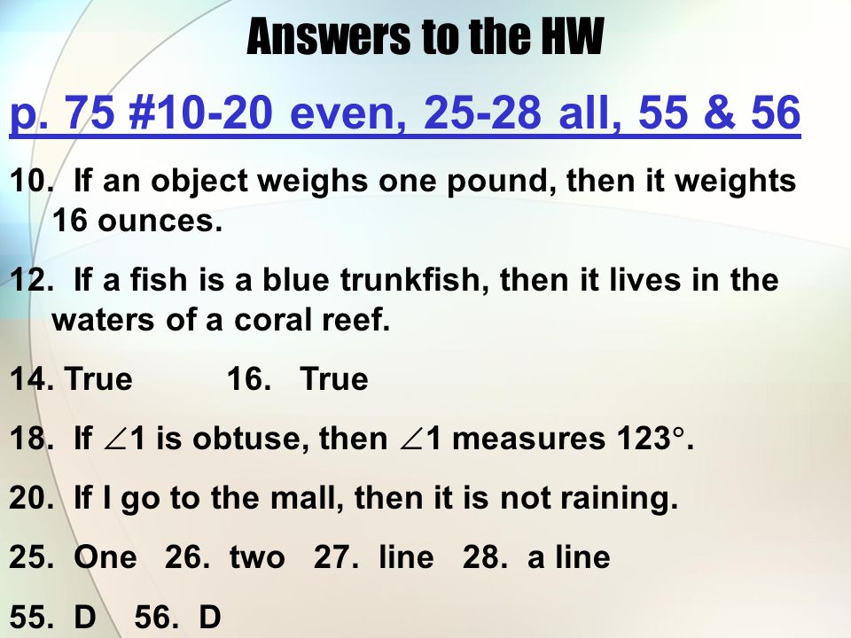 Answers to the HW p. 75 #10-20 even, 25-28 all, 55 & 56