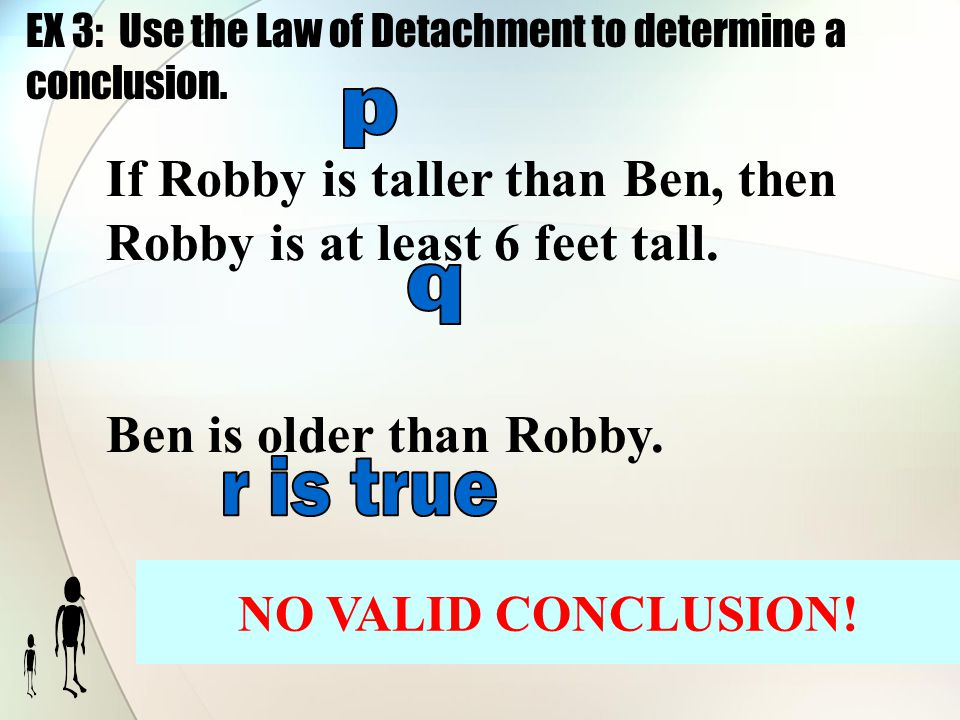 EX 3: Use the Law of Detachment to determine a conclusion.