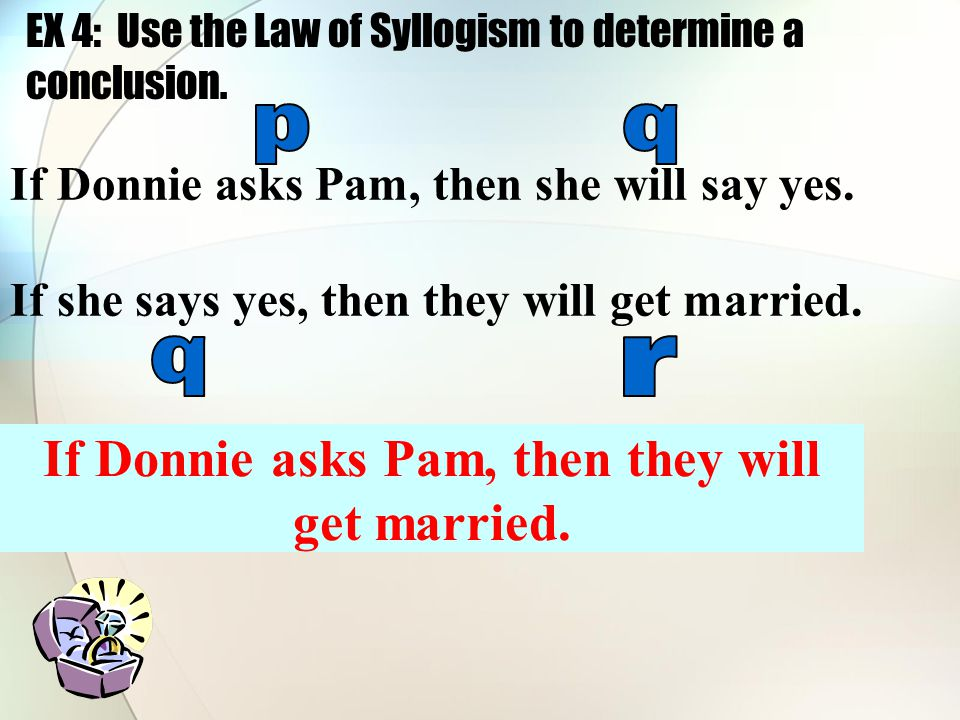 EX 4: Use the Law of Syllogism to determine a conclusion.