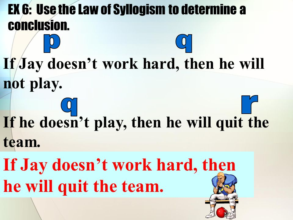 EX 6: Use the Law of Syllogism to determine a conclusion.