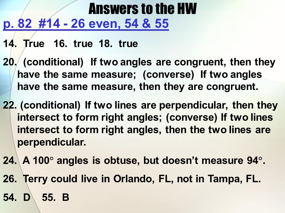 Answers to the HW p. 82 #14 - 26 even, 54 & 55