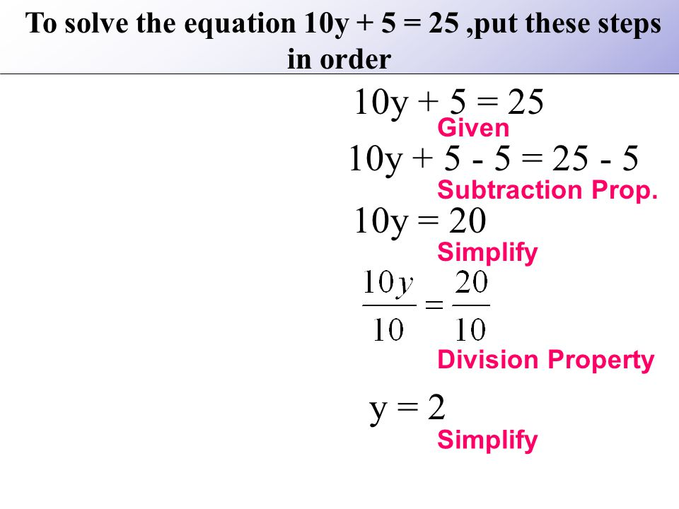 To solve the equation 10y + 5 = 25 ,put these steps in order