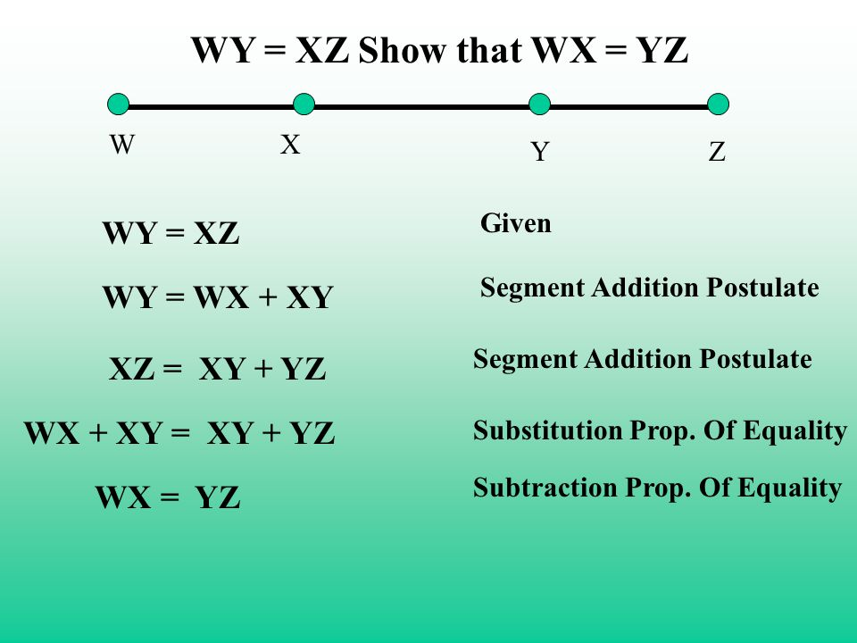 WY = XZ Show that WX = YZ WY = XZ WY = WX + XY XZ = XY + YZ