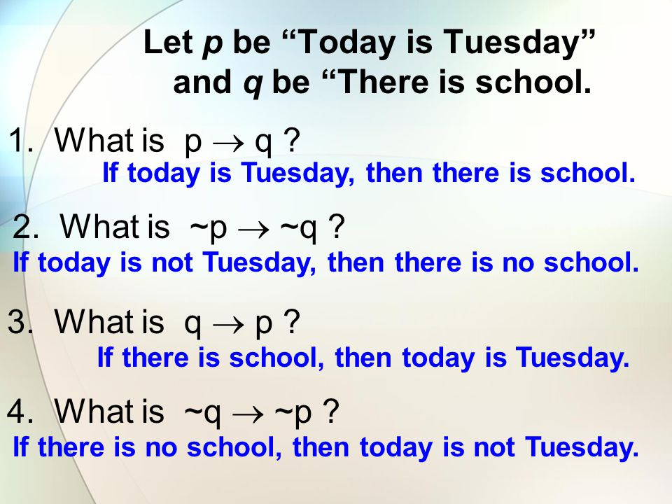 Let p be Today is Tuesday and q be There is school.