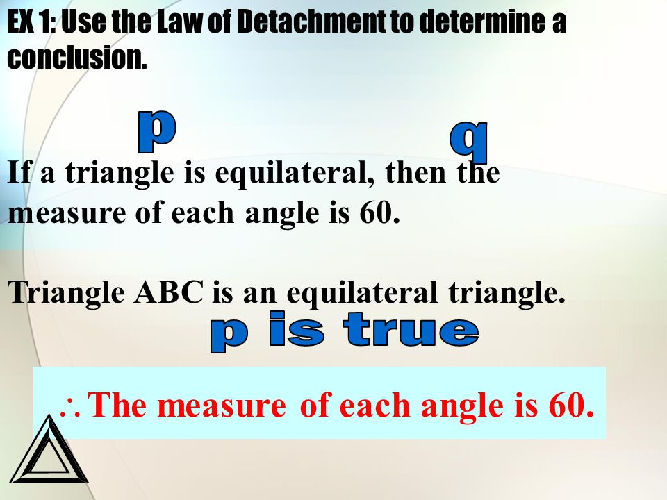EX 1: Use the Law of Detachment to determine a conclusion.