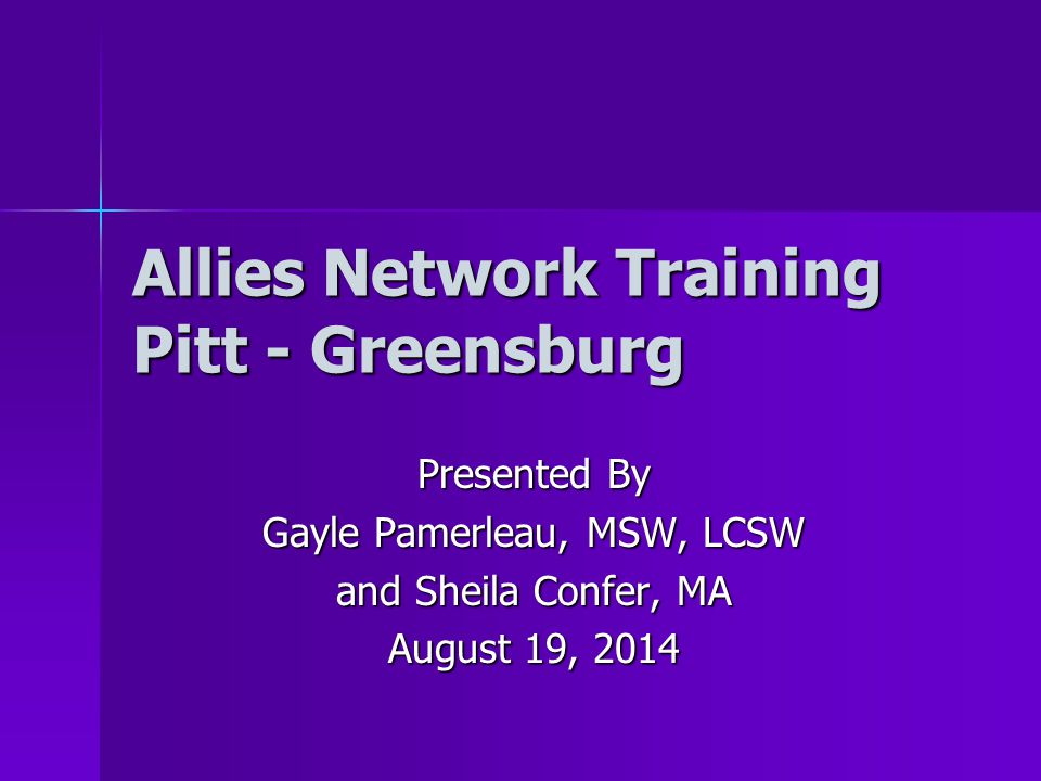 Allies Network Training Pitt - Greensburg