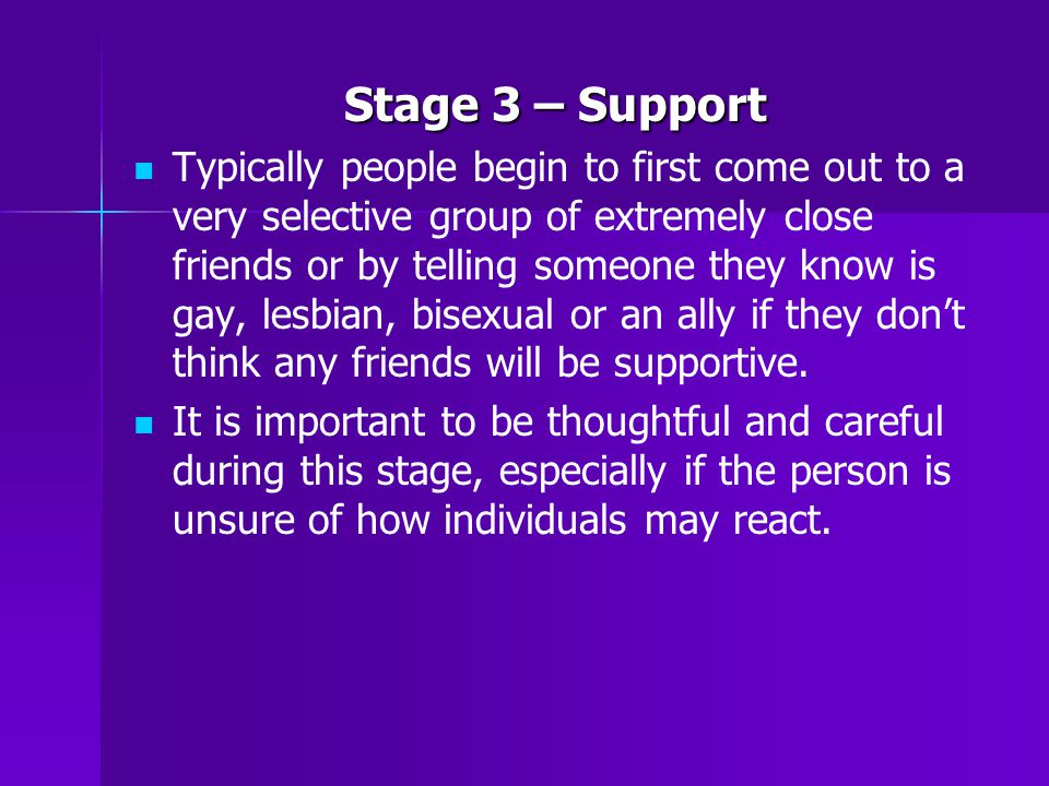 Stage 3 – Support