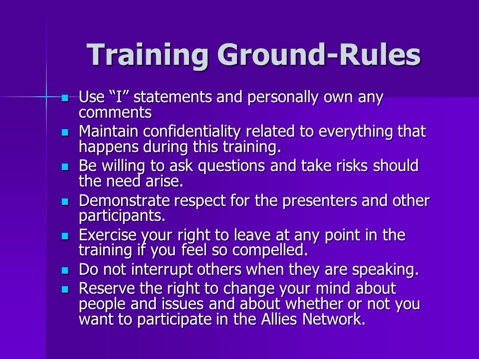 Training Ground-Rules
