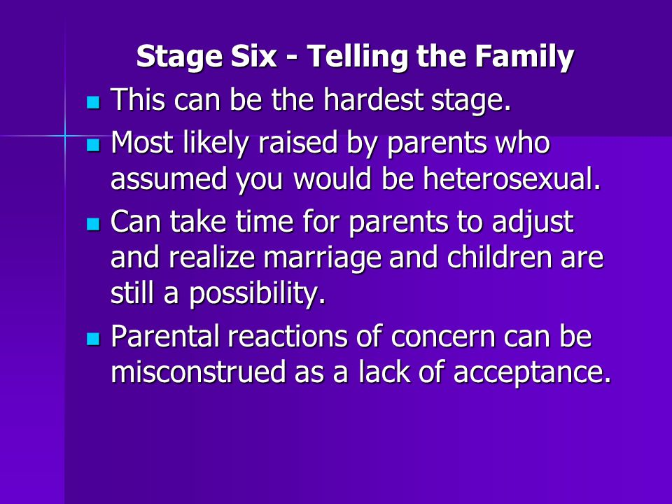 Stage Six - Telling the Family