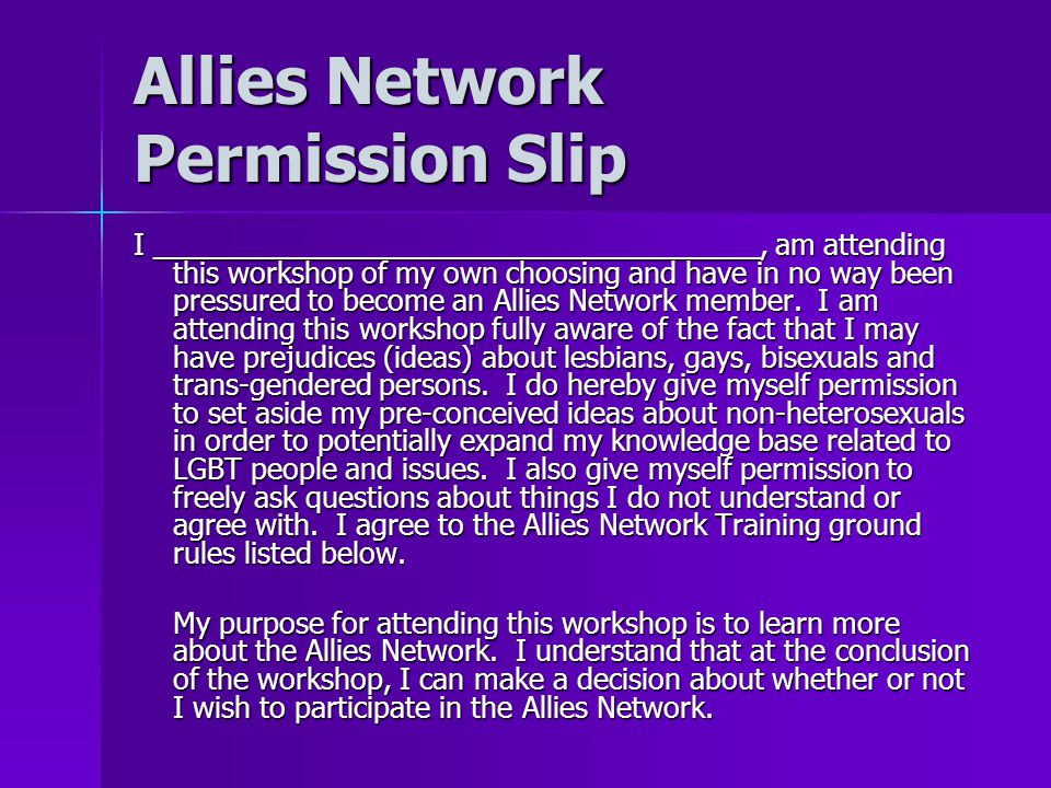 Allies Network Permission Slip