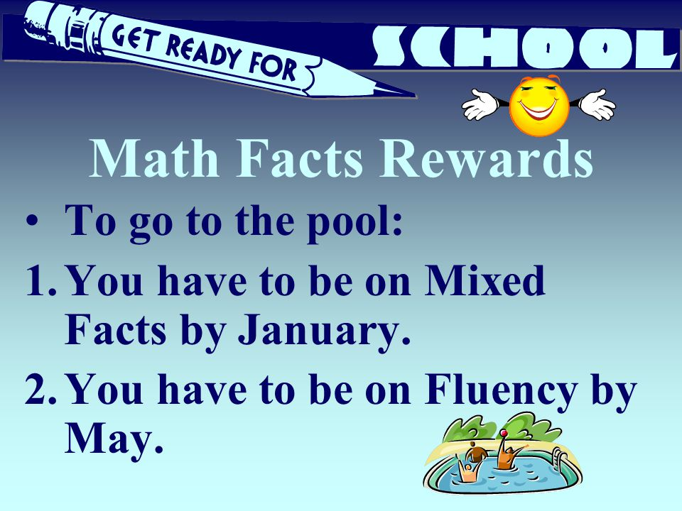 Math Facts Rewards To go to the pool: