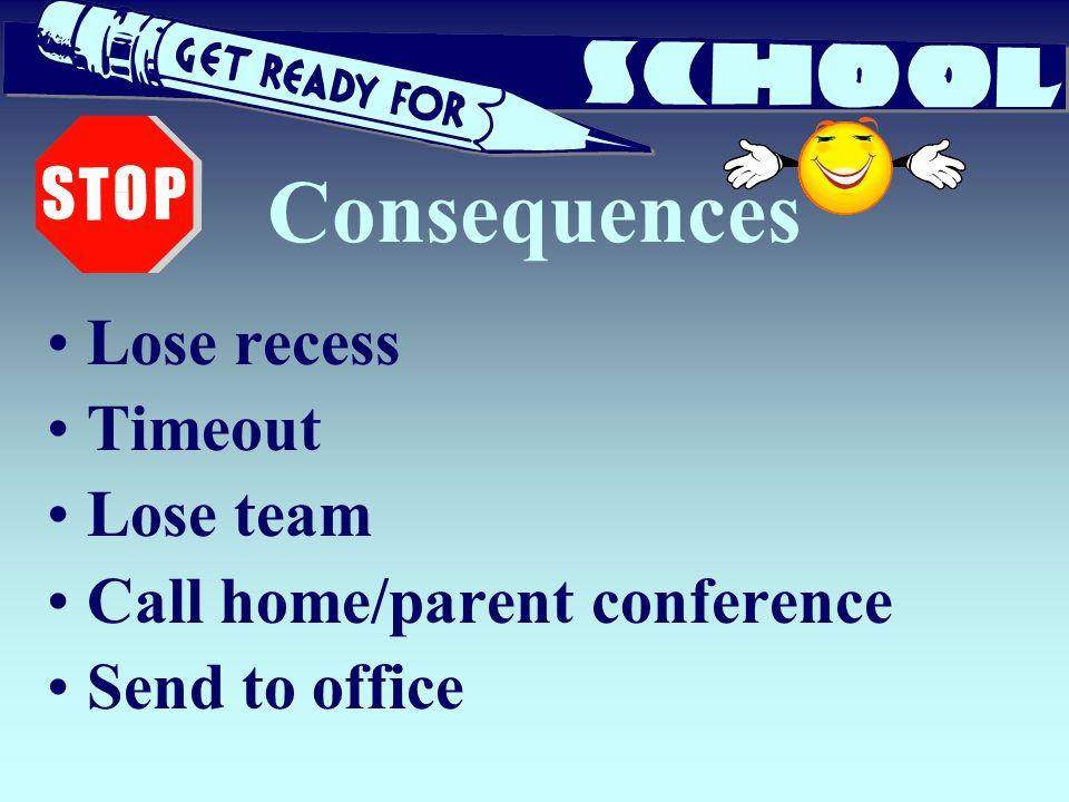 Consequences Lose recess Timeout Lose team Call home/parent conference
