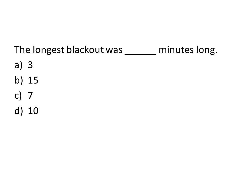 The longest blackout was ______ minutes long.