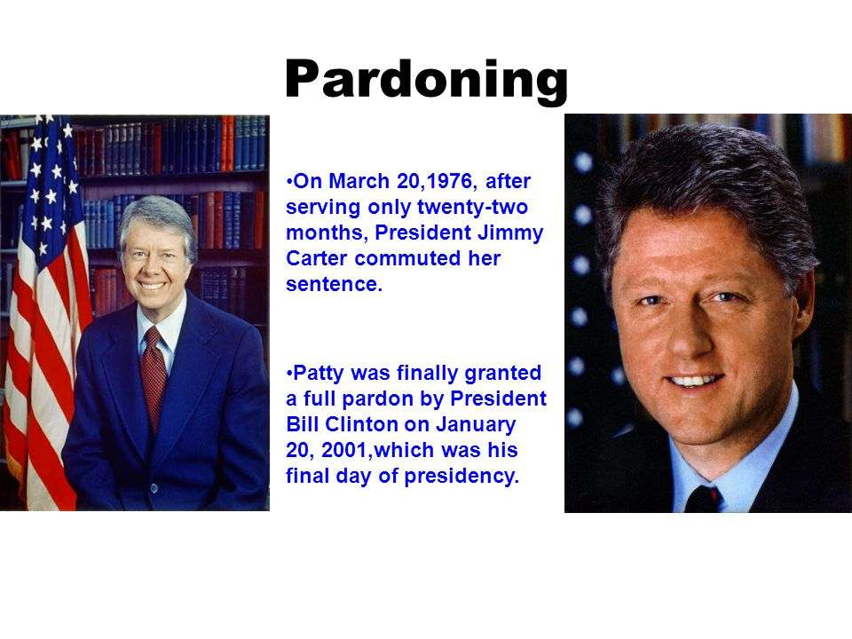 Pardoning On March 20,1976, after serving only twenty-two months, President Jimmy Carter commuted her sentence.