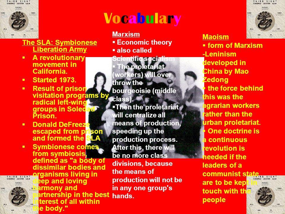 Vocabulary Maoism form of Marxism The SLA: Symbionese Liberation Army