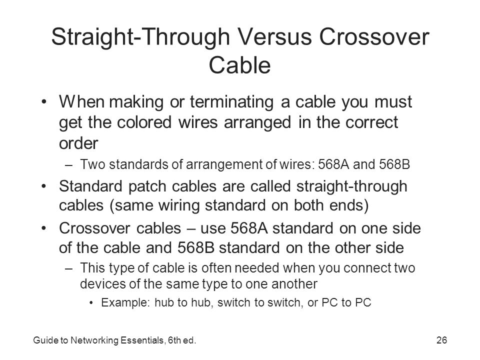 Straight-Through Versus Crossover Cable